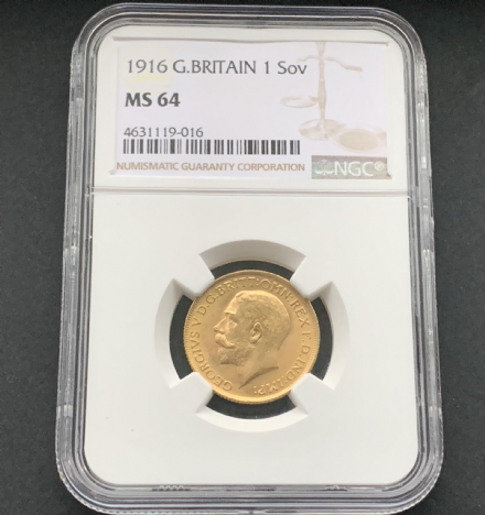 1916 Gold Sovereign  London  Mint  State  64  NGC